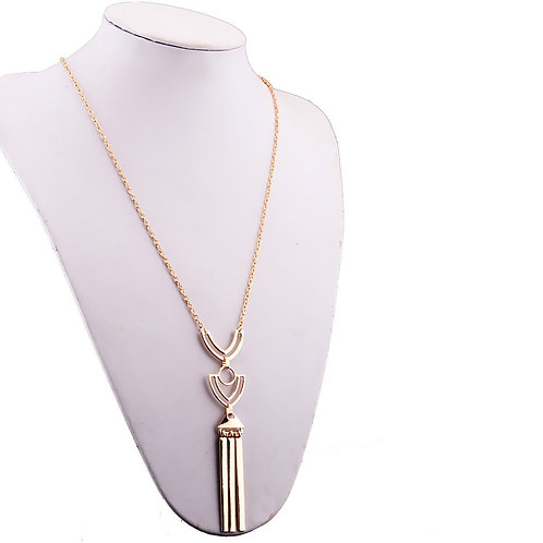 Gold Plated Tassel Pendant Necklace