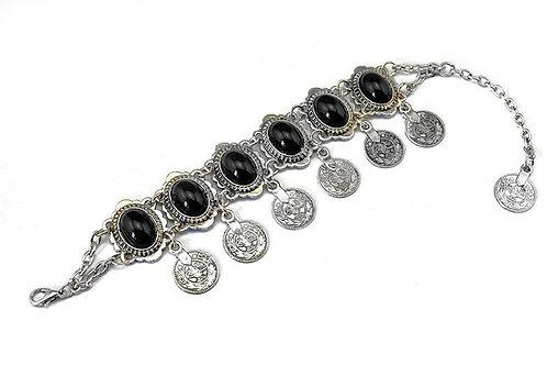 Bohemian Gem Coin Tassel Bracelet