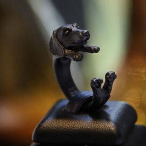 Adjustable Cute Dog Ring Doxie Black