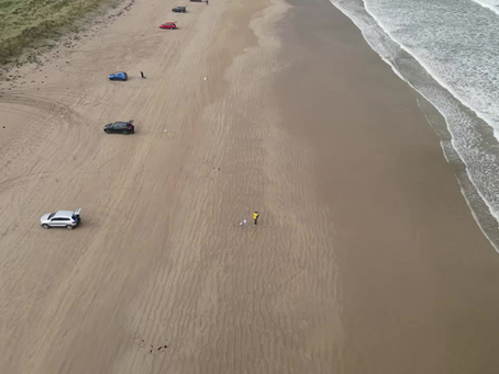 A quick scoot up the beach with the drone gives idea of the ease and accessibility of Benone Beach