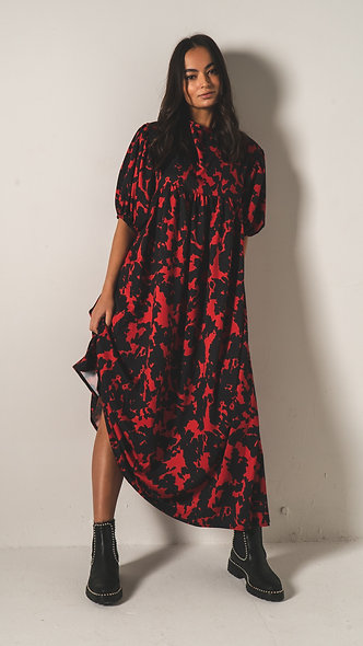 Puff sleeve maxi smock dress in abstract print