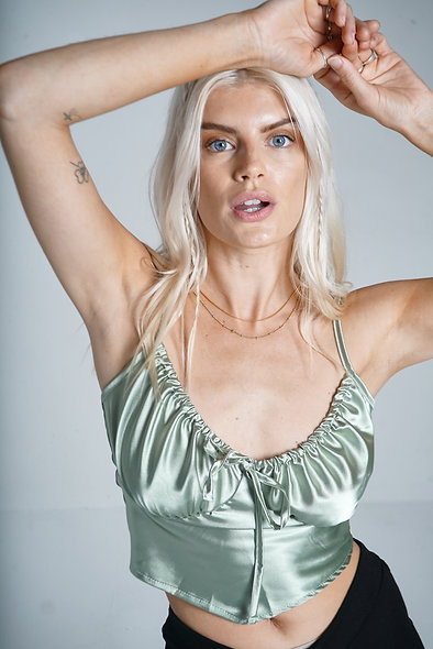 Sage Satin Rouched Top