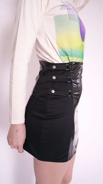 Vinyl mini skirt with side tie detail