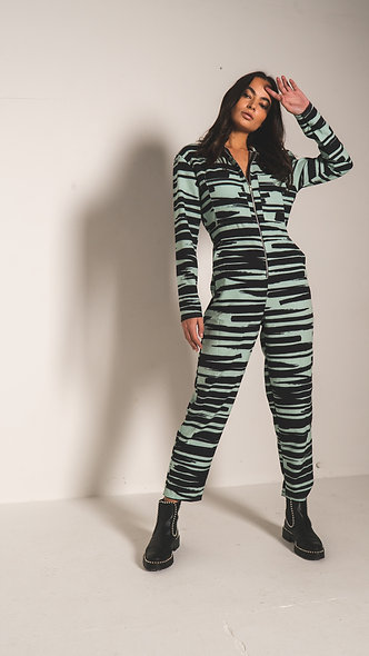 Boiler suit in abstract animal print
