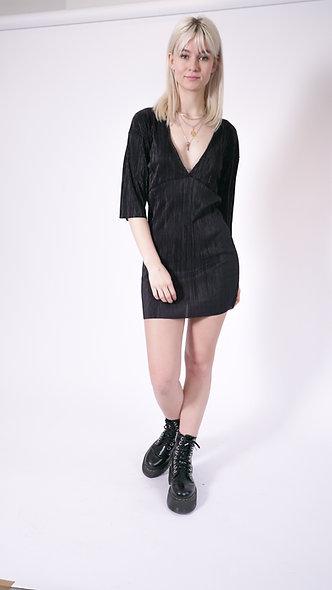 Plisse Plunge Mini Dress