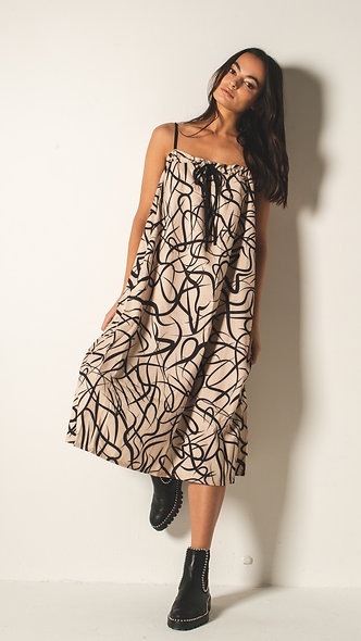 Volume midi dress with drawstring detail in abstract print