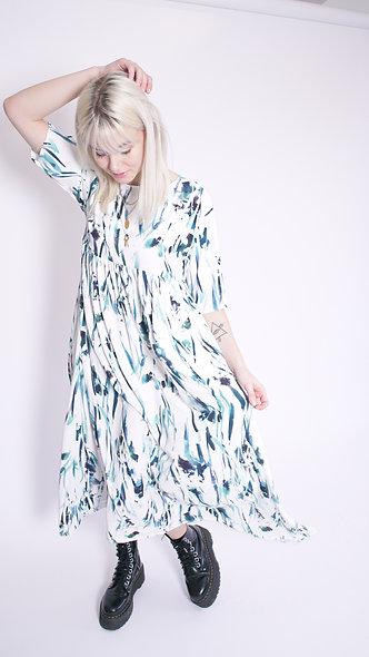 Maxi smock dress in brush stroke print