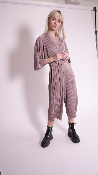 Relaxed wrap front jumpsuit with toggle tie in crinkle fabric