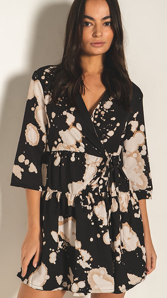 Tiered wrap dress in bleached print