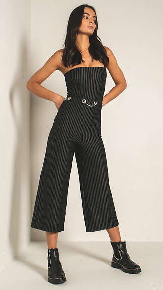 Strapless fitted jumpsuit in pinstripe with chain waist