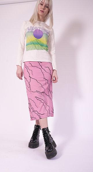 Midi skirt with toggle waist in lightening print