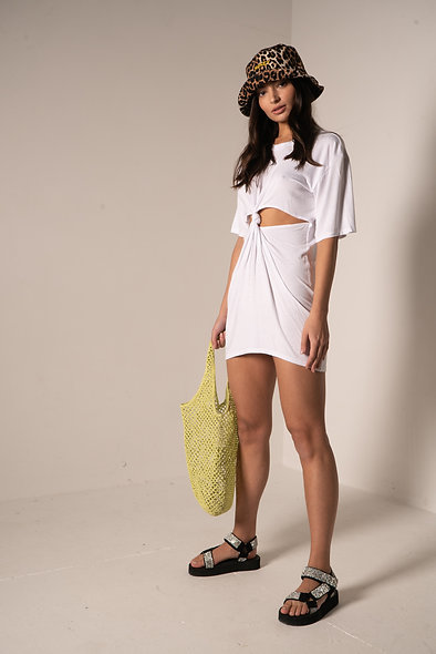 CUTOUT KNOTTED TEE DRESS
