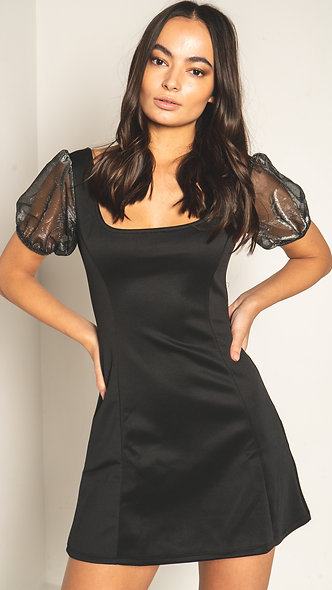 Square neck mini dress with organza puff sleeves