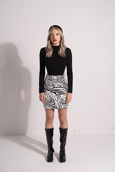 Faux leather mini skirt in zebra print
