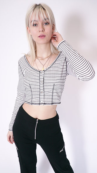 long sleeve top with contrast overstitch