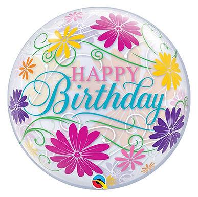 Birthday Flowers & Filigree Bubble Balloon