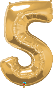 "Gold 34"" Foil Number 5 Balloon Helium Filled"