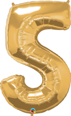 """Gold 34"""" Foil Number 5 Balloon Helium Filled"""
