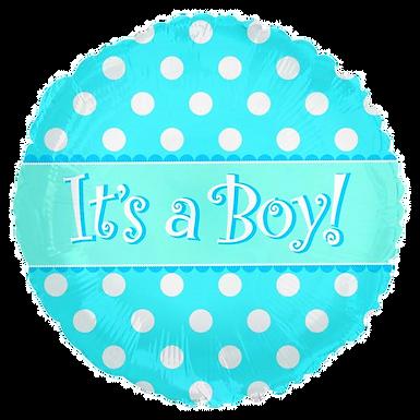 "It's A Boy Blue Dots 18"" Round Foil Balloon"