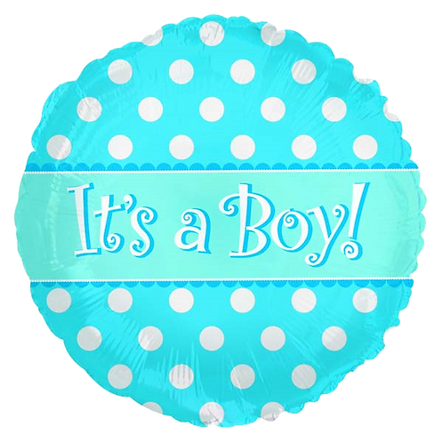 "It's A Boy Blue Dots 18"" Round Foil Balloon"