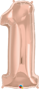 "Rose Gold 34"" Foil Number 1 Balloon"