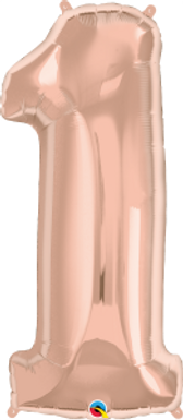 """Rose Gold 34"""" Foil Number 1 Balloon Helium Filled"""