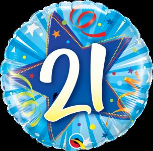 "21 Shining Star Bright Blue 18"" Foil Balloon"