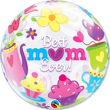 """Best M(Heart)m Ever! Tea Time 22"""" Bubble Balloon Filled with Helium"""