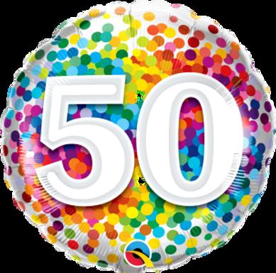 """50 Rainbow Confetti 18"""" Foil"""