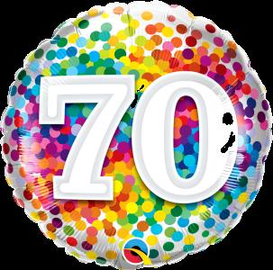 """70 Rainbow Confetti 18"""" Foil"""