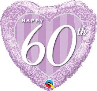 "Happy 60th Damask 18"" Foil Balloon"