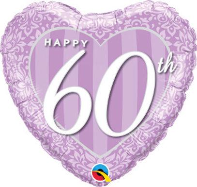 "Happy 60th Damask 18"" Foil Balloon"