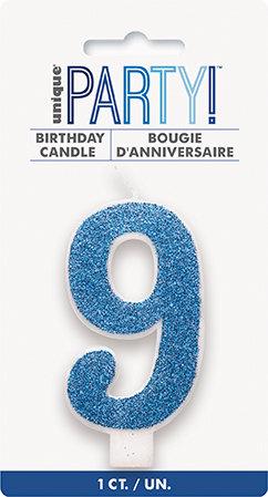 Glitz Blue Glitter Number 9 Candle