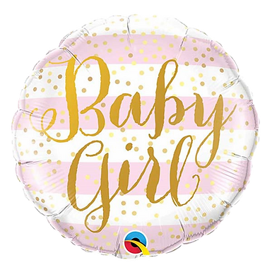 "Baby Girl Stripes 18"" Round Foil Balloon"