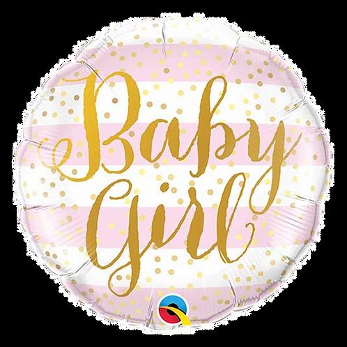 """Baby Girl Stripes 18"""" Round Foil Balloon"""