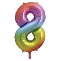 "Rainbow 34"" Foil Number 8 Balloon Helium Filled"