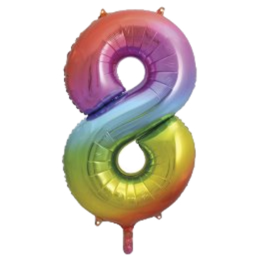 """Rainbow 34"""" Foil Number 8 Balloon Helium Filled"""