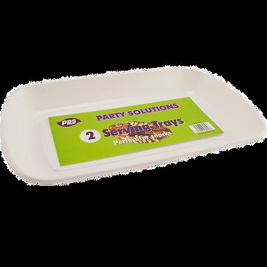 35cm x 21cm White Reusable Serving Trays x 2