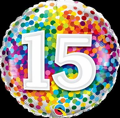 "15 Rainbow Confetti 18"" Foil Balloon"