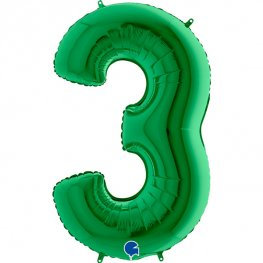 """Green 40"""" Foil Number 3 Balloon Helium Filled"""