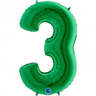 "Green 40"" Foil Number 3 Balloon Helium Filled"