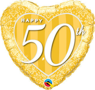 "Happy 50th Damask 18"" Foil Balloon"