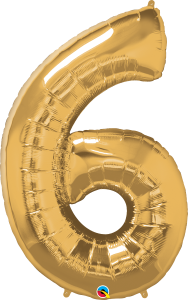 """Gold 34"""" Foil Number 6 Balloon Helium Filled"""