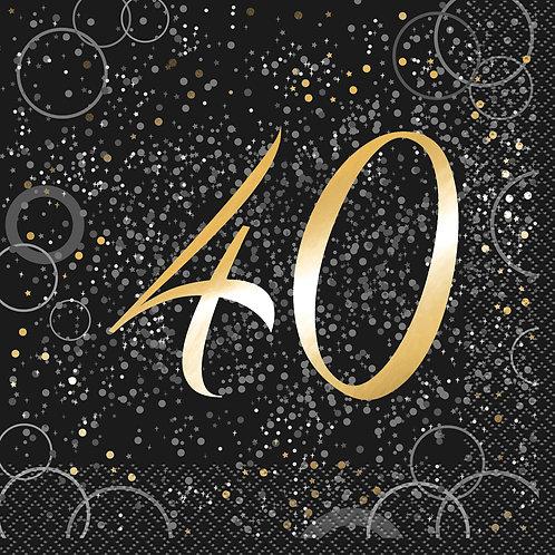 Black & Gold Age 40 Napkins