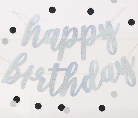 Silver Happy Birthday String Banner