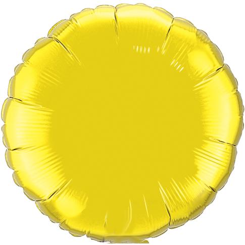 Yellow 18 inch Circle Foil Balloon