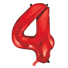 """Red 34"""" Foil Number 4 Balloon Helium"""