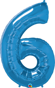 "Blue 34"" Foil Number 6 Balloon"