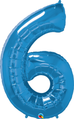 """Blue 34"""" Foil Number 6 Balloon Helium Filled"""