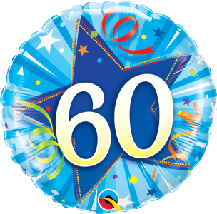 "60 Shining Star Bright Blue 18"" Foil Balloon"